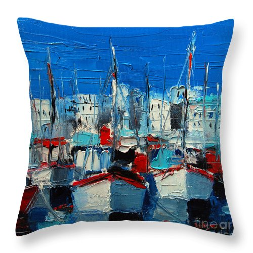 Little Harbor Throw Pillow featuring the painting Little Harbor by Mona Edulesco