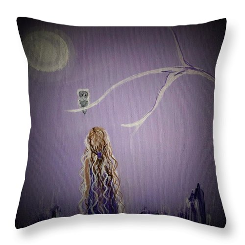 Little Girl Canvas Prints Throw Pillow featuring the painting Little Hoots Too by Leslie Allen