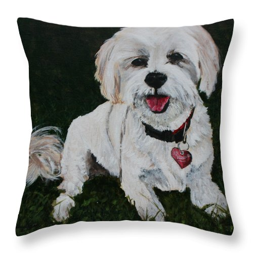 Dog Throw Pillow featuring the painting Little Miss by Betty-Anne McDonald