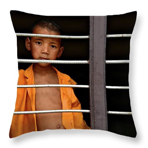Children Throw Pillow featuring the photograph Little Monk In The Window by Valerie Rosen