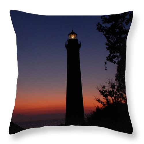 Lighthouse Throw Pillow featuring the photograph Little Sable Point Lighthouse After Sunset by Grace Grogan