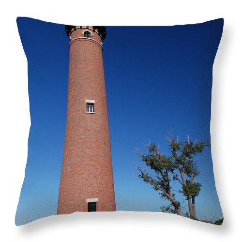 Lighthouse Throw Pillow featuring the photograph Little Sable Point Lighthouse by Grace Grogan