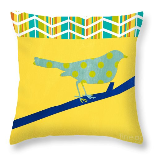 Bird Throw Pillow featuring the mixed media Little Song Bird by Linda Woods