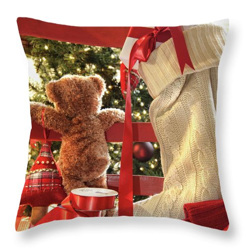Background Throw Pillow featuring the photograph Little Teddy Bear Looking Through Chair by Sandra Cunningham