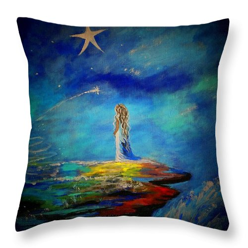 Little Girl Canvas Prints Throw Pillow featuring the painting Little Wishes Too by Leslie Allen