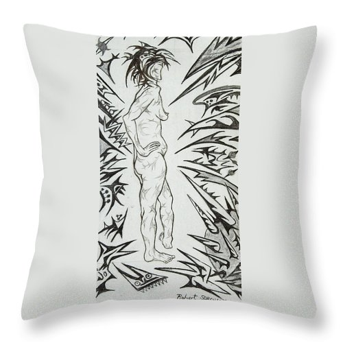 Live Nude Throw Pillow featuring the painting Live Nude Female No. 31 by Robert SORENSEN