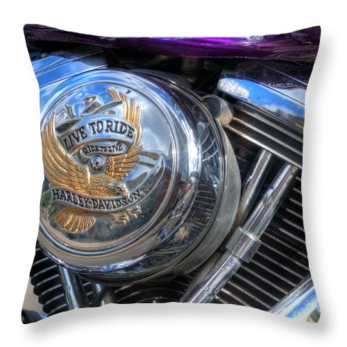 Harley Davidson Throw Pillow featuring the photograph Live To Ride by Steve Purnell