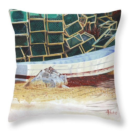 Dory Throw Pillow featuring the painting Lobster Traps And Dory by Dominic White