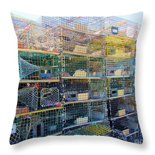 Fishing Throw Pillow featuring the photograph Lobster Traps by Susan Carella