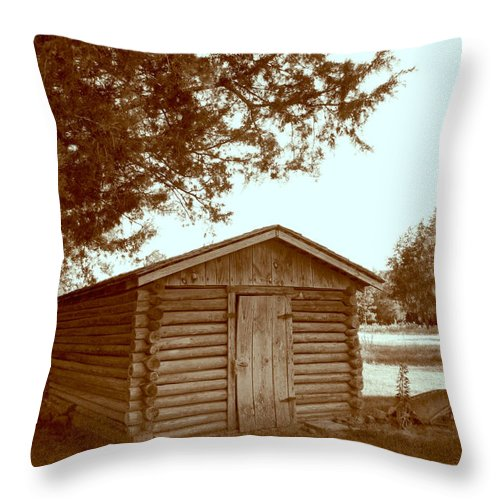 Log Throw Pillow featuring the photograph Log Shed In The Shade by Nina Fosdick