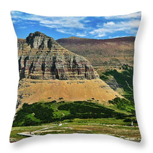 Glacier National Park Throw Pillow featuring the photograph Logan Pass Panorama by Greg Norrell
