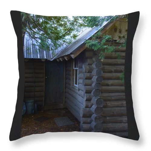 Log Cabin Throw Pillow featuring the photograph Logs by Ramie Liddle