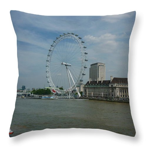 London Eye Throw Pillow featuring the photograph London Eye by Ronald Osborne