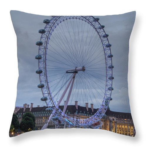 Westminster Throw Pillow featuring the photograph London Skyline Edf Eye by David French