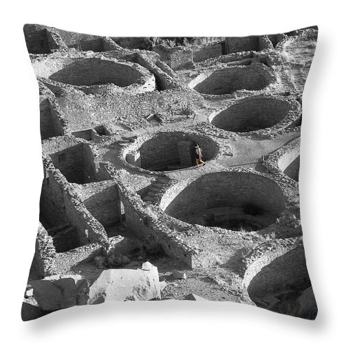 Bikers Throw Pillow featuring the photograph Lone Biker In Pueblo Bonito by Feva Fotos