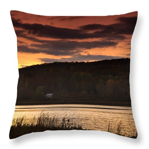 Sunset Throw Pillow featuring the photograph Lone Cabin by Cale Best