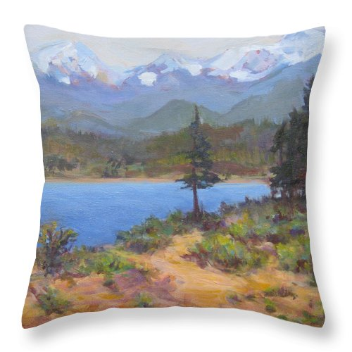 Trees Throw Pillow featuring the painting Lone Tree by Nanci Cook