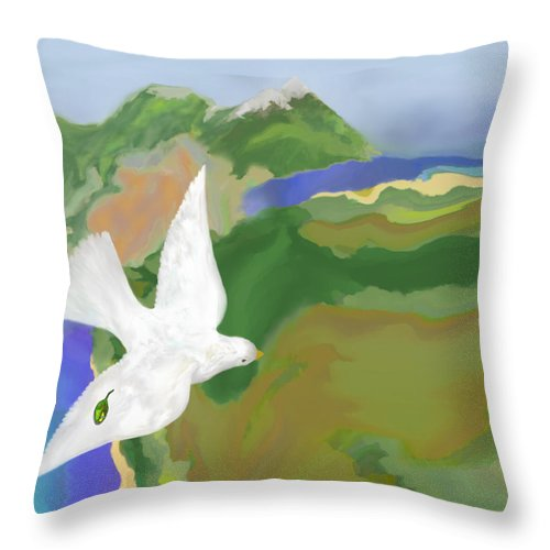 Dove Throw Pillow featuring the digital art Long Journey Home by Mathilde Vhargon