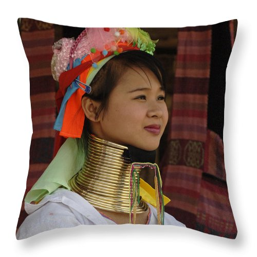 Long Necks Throw Pillow featuring the photograph Long Necked Woman 3 by Bob Christopher
