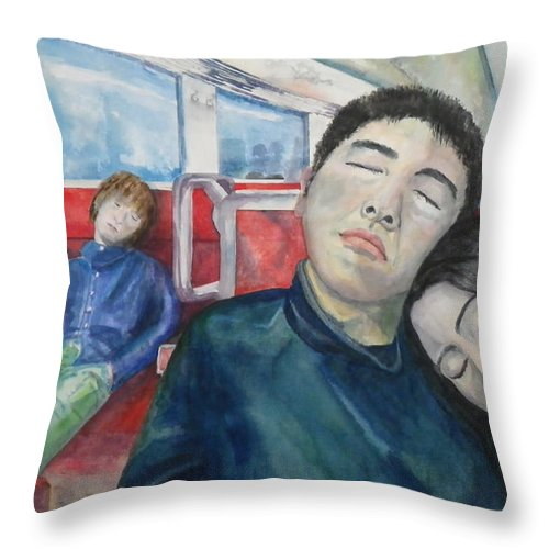 Train Throw Pillow featuring the painting Long Ride by Anna Ruzsan