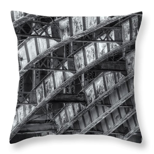 Clarence Holmes Throw Pillow featuring the photograph Longfellow Bridge Arches Iv by Clarence Holmes