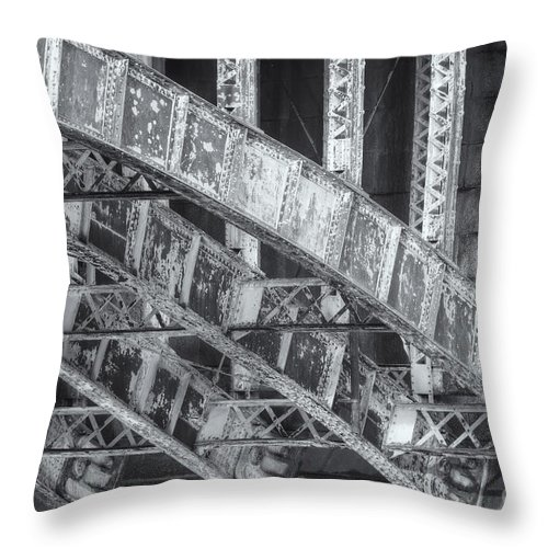 Clarence Holmes Throw Pillow featuring the photograph Longfellow Bridge Arches V by Clarence Holmes