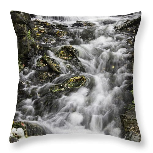 Sudbury Throw Pillow featuring the photograph Longfellow Grist Mill Waterfall by Betty Denise