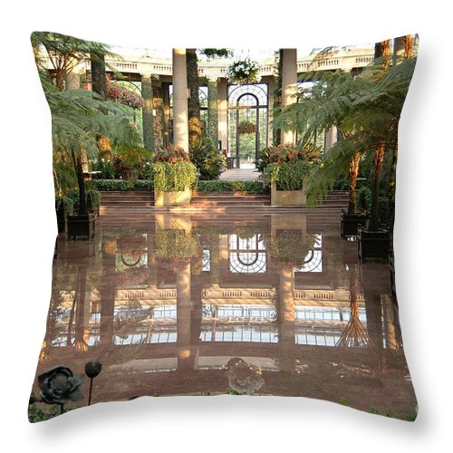 Indoor Garden Botanical Longwood Reflection Mirror Architecture Throw Pillow featuring the photograph Longwood Gardens by Vilas Malankar