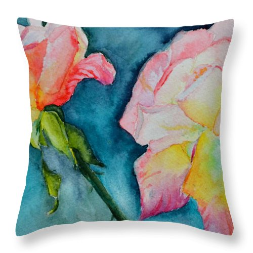 Rose Throw Pillow featuring the painting Looking Forward Looking Back by Beverley Harper Tinsley