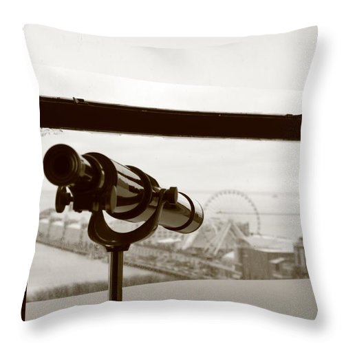 Telescope Throw Pillow featuring the photograph Looking Out by Caroline Lomeli