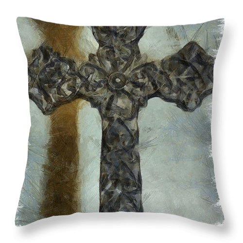Faith Throw Pillow featuring the mixed media Lord Have Mercy 1 by Angelina Vick