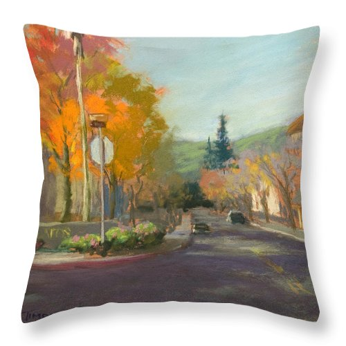 Landscape Throw Pillow featuring the painting Los Atos Fall Colors by Timon Sloane