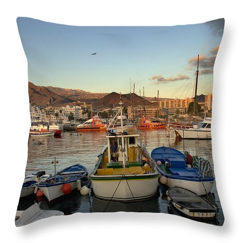 Boats Throw Pillow featuring the photograph Los Cristianos Habour. Los Cristianos by Axiom Photographic