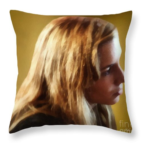 Blonde Throw Pillow featuring the painting Lost In Thought by RC DeWinter