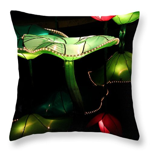 Lotus Throw Pillow featuring the photograph Lotus Lanterns 2 by Greg Matchick