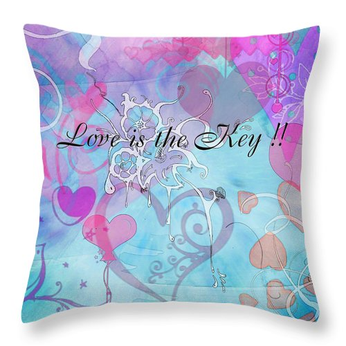 Valentine Throw Pillow featuring the photograph Love Is The Key by Debbie Portwood