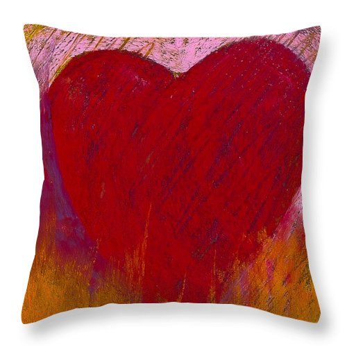 Pastel Throw Pillow featuring the painting Love On Fire by David Patterson
