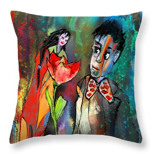 Fantasy Throw Pillow featuring the painting Love Out Of The Blue by Miki De Goodaboom