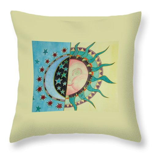 Sun Throw Pillow featuring the painting Love You Day And Night by Anna Ruzsan
