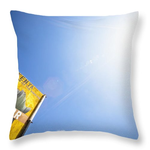 Angle View Throw Pillow featuring the photograph Low Angle View Of A Sign On The Equator by David DuChemin
