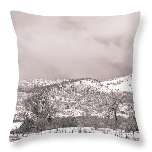 'low Clouds' Throw Pillow featuring the photograph Low Clouds On The Colorado Rocky Mountain Foothills 3 Bw by James BO Insogna
