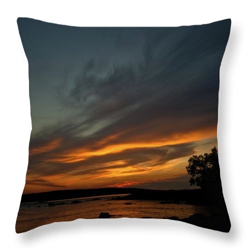 Sunset Throw Pillow featuring the photograph Low Tide Sunset by Greg DeBeck