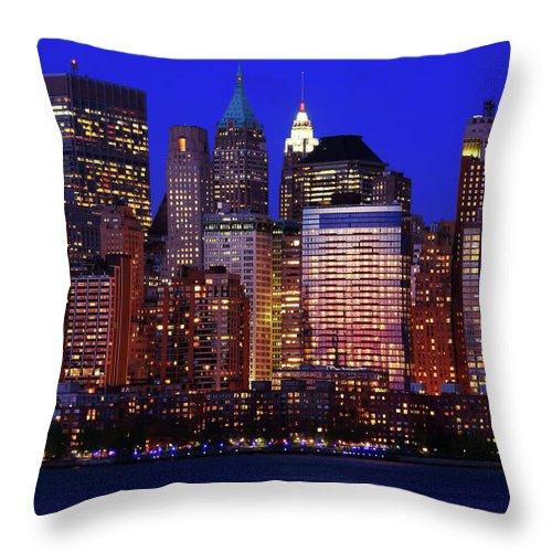 Manhattan Throw Pillow featuring the photograph Lower Manhattan by Rick Berk