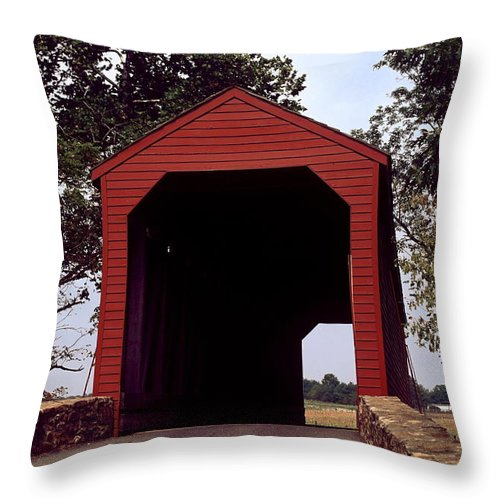 Loy's Station Covered Bridge Throw Pillow featuring the photograph Loy's Station Covered Bridge by Sally Weigand