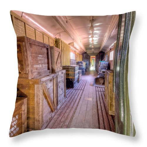 Canada Throw Pillow featuring the photograph Luggage Car by Colette Panaioti