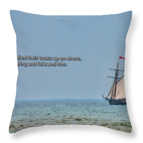 Bible Throw Pillow featuring the photograph Luke 5 11 by David Arment