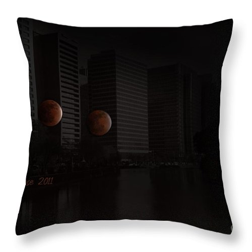 Eclipse Throw Pillow featuring the photograph Lunar Eclipse by Eena Bo
