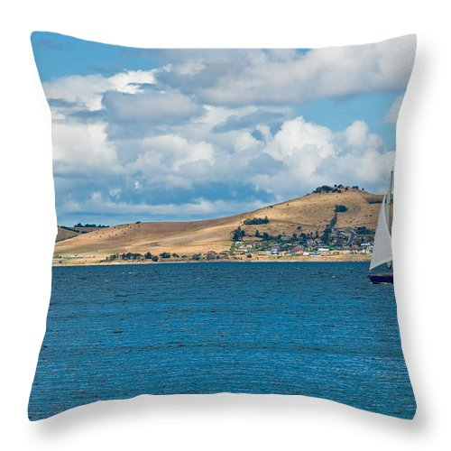 Beige Throw Pillow featuring the photograph Luxury Yacht Sails In Blue Waters Along A Summer Coast Line by U Schade