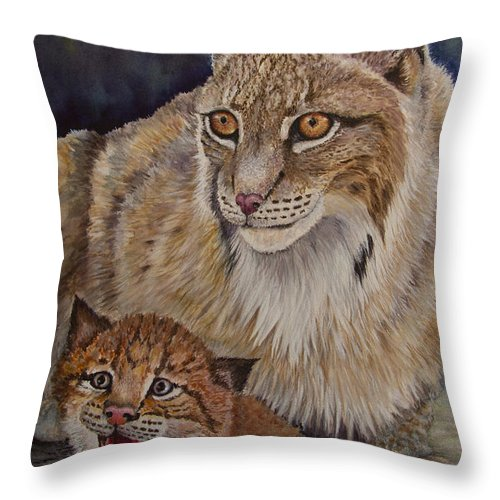 Lynx Throw Pillow featuring the painting Lynx Mom And Baby by Dee Carpenter