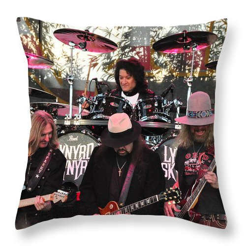 Guitar Throw Pillow featuring the photograph Lynyrd Skynyrd - Matejka - Rossington - Kearns - Cartellone by John Black